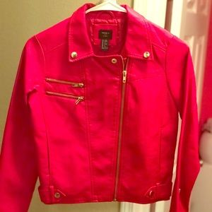 FOREVER 21 Girls Red Leather Moto Jacket
